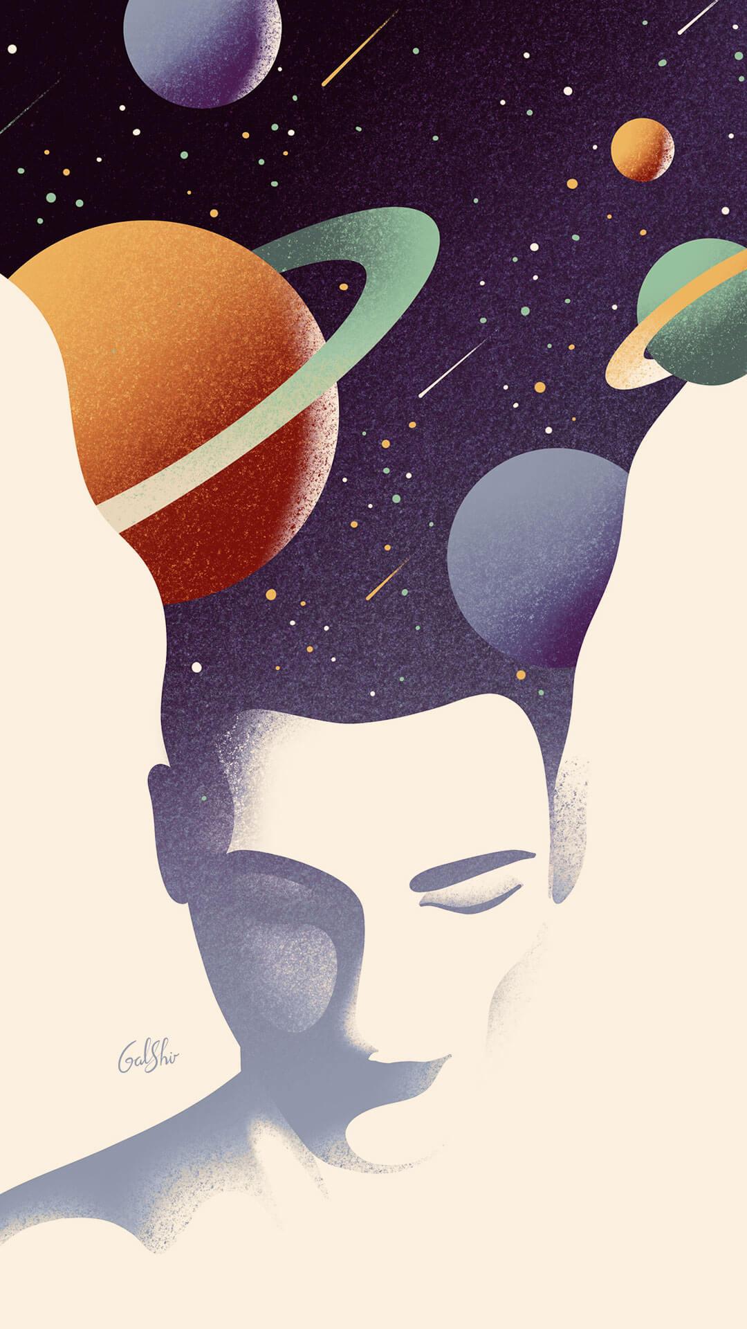 Illustration d'un homme qui rêve dans l'univers