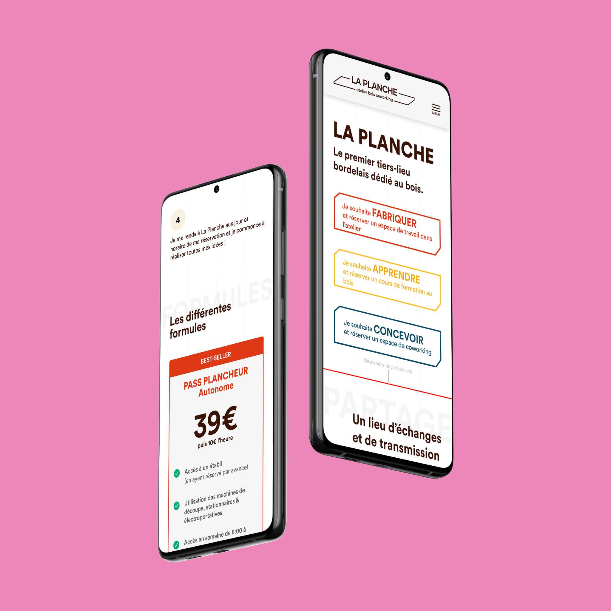 Mockup des maquettes mobiles du site de La Planche